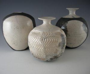 Raku bottles by Anni Melançon