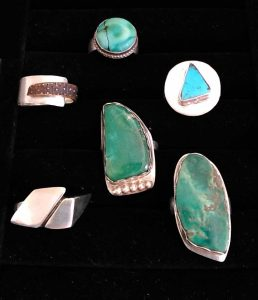 Silver rings with inlaid turquoise by Eric Hahr