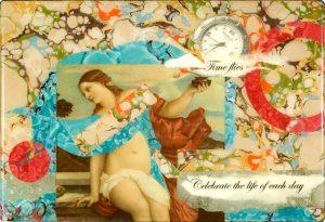 Time Flies Box, Mixed Media Collage by Karen Watson