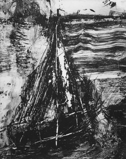 Sail, monoprint by Randolph Kelts